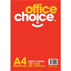 OFFICE CHOICE TRANSPARENT BINDING COVERS CLEAR A4 250 Micron Box 100