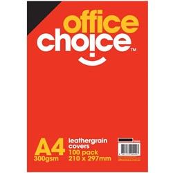 OFFICE CHOICE LEATHERGRAIN BINDING COVERS BLACK Box 100