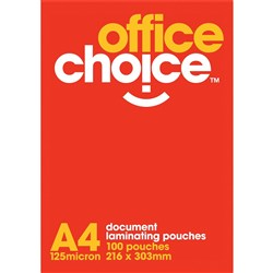 OFFICE CHOICE LAMINATING (D) POUCHES A4 125 MICRON box 100
