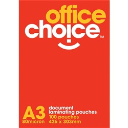 OFFICE CHOICE LAMINATING POUCHES A3 80 MICRON box 100