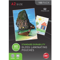 IBICO LAMINATING POUCHES A2 80Micron 426x600mm Gloss Box of 100