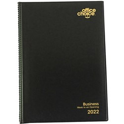 OFFICE CHOICE BUSINESS DIARY PVC A4 Week to Open BLACK 1 Hour Appoint 8am - 7pm 2021