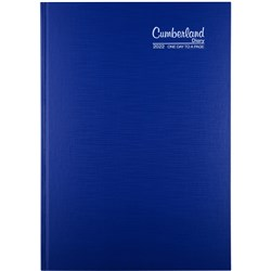 CUMBERLAND PREMIUM CASEBOUND A4 1 day to a Page BLUE 2021 15 Min Appoint 7.30am - 7pm