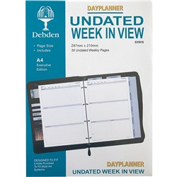 DEBDEN DAYPLANNER REFILL A4 Weekly NonDated Calendar