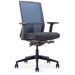 INTELL MESH BACK OFFICE CHAIR Black Fabric Seat+Synchron Adjustable Arms+Seat Slider