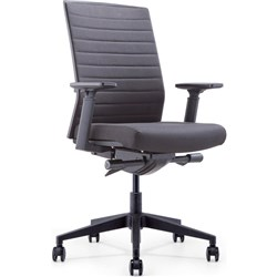 INTELL FABRIC OFFICE CHAIR Black Fabric Seat+Synchron Adjustable Arms+Seat Slider