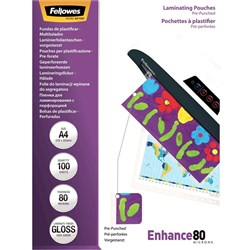 FELLOWES LAMINATING POUCH A4 80 Micron Gloss 303 x 216mm
