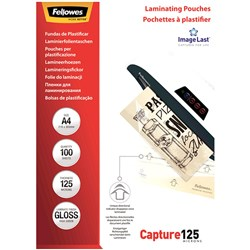 FELLOWES® LAMINATING POUCHES A4 125 Micron Pack 100
