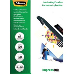FELLOWES GLOSSY 100MIC A4 LAMINATING POUCH 100PK