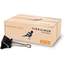 BIBBULMUN FOLDBACK CLIPS 41mm Pack of 12 Replaces Office Choice