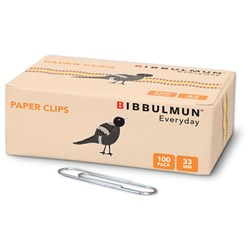 BIBBULMUN PAPER CLIPS 33mm Pack of 100 Replaces Office Choice