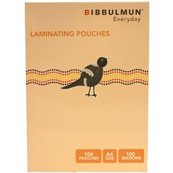 BIBBULMUN LAMINATING POUCHES A4 100 Micron Pack of 100 Exclusive to Office Choice