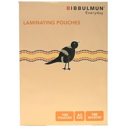 BIBBULMUN LAMINATING POUCHES A3 80 Micron Pack of 50 Exclusive to Office Choice