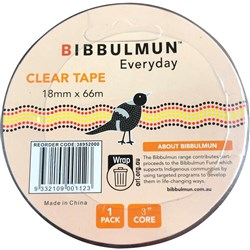 BIBBULMUN OFFICE TAPE 18mmX66m Clear