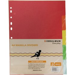 BIBBULMUN MANILLA DIVIDER A4 5 Tab Brights Replaces Office Choice