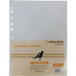 BIBBULMUN MANILLA DIVIDER A4 5 Tab White Replaces Office Choice