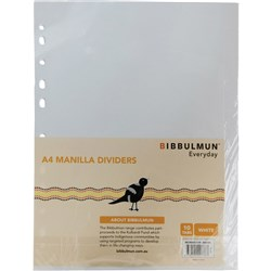 BIBBULMUN MANILLA DIVIDER A4 10 Tab White Replaces Office Choice
