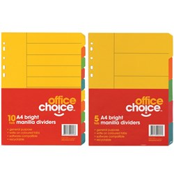 OFFICE CHOICE A4 DIVIDERS (D) 5 Tab Coloured Manilla Bright