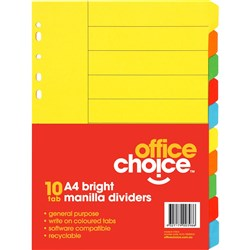OFFICE CHOICE A4 DIVIDERS (D) 10 Tab Coloured Manilla Bright