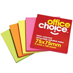 OFFICE CHOICE NOTES 75X75MM NEON Pack 5