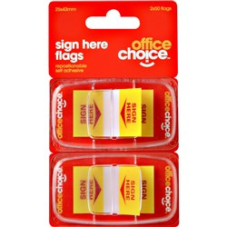 OFFICE CHOICE SIGN HERE FLAGS Twin Pack