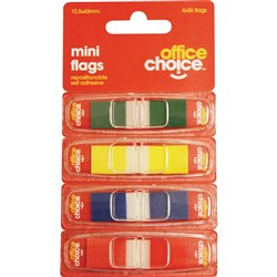 OFFICE CHOICE ASSORTED MINI FLAGS 13X43MM 4 COLOURS