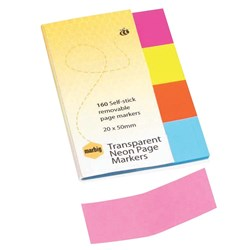 MARBIG TRANSPARENT COLOUR PAGE MARKERS ASSORTED