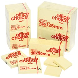 OFFICE CHOICE NOTES 38X50MM YELLOW Available in Packs of 12