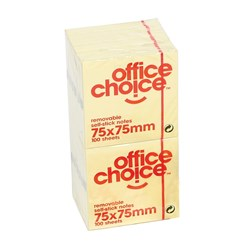 OFFICE CHOICE NOTES 75X75MM YELLOW