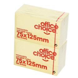 OFFICE CHOICE NOTES 75X125MM YELLOW Available in Packs of 12