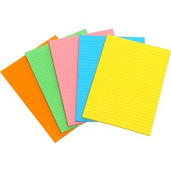 MARBIG WRITING PAD FLURO A5 Assorted 40 Leaf Pack of 10