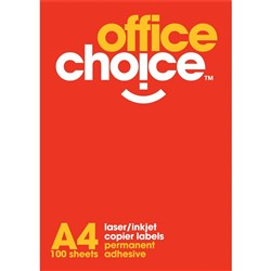 OFFICE CHOICE LASER INKJET COPIER LABELS 4 LABELS PER SHEET