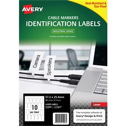 AVERY L7136LT WHITE CORD TAGS 10 Lbls/Sht 5 Shts 57.2X25.4mm Printable & Durable