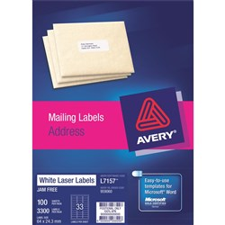 AVERY L7157 MAILING LABELS Laser 33UP 64x24.3mm Address Box of 100
