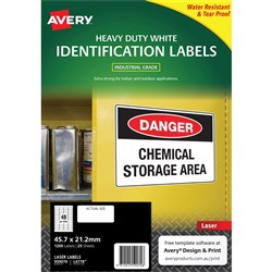 AVERY DURABLE HEAVY DUTY LASER LABELS L4778 48 LABELS PER SHEET