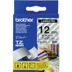 BROTHER TZE131 PTOUCH TAPE 12MMx8M Black on Clear Tape