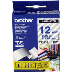 BROTHER TZE133 PTOUCH TAPE 12MMx8M Blue on Clear Tape