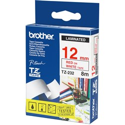 BROTHER TZE232 PTOUCH TAPE 12MMx8M Red on White Tape