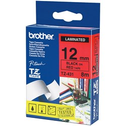 BROTHER TZE431 PTOUCH TAPE 12MMx8M Black on Red Tape