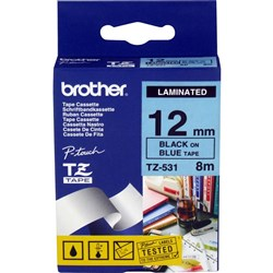 BROTHER TZE531 PTOUCH TAPE 12MMx8M Black on Blue Tape