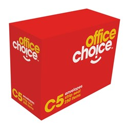 OFFICE CHOICE C5 ENVELOPES 229X162 StripSeal White 80g Box 500