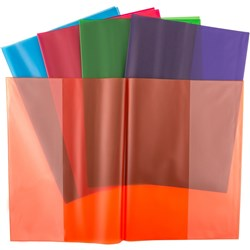 CUMBERLAND SLIP ON BOOK COVERS A4 Tinted Asstd Colours Pk5
