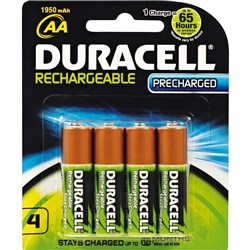 DURACELL RECHARGEABLE BATTERY AA PRECHARGED CARD 4