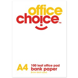 OFFICE CHOICE RULED PAD A4 BANK FEINT RULE