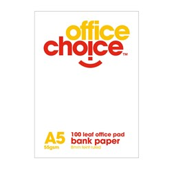 OFFICE CHOICE OFFICE PAD A5 100 leaf Bank Ruled 55gsm