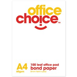 OFFICE CHOICE HIGH QUALITY A4 RULED BOND PAD