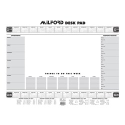 MILFORD DESK PAD WEEK TO VIEW A2 Desk Pad Planner White 2020