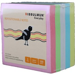 BIBBULMUN STICKY NOTES 76X76mm Assorted Pack of 5 Replaces Office Choice