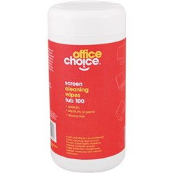 OFFICE CHOICE SCREEN WIPES Anti-Static Tub 100 Tub 100