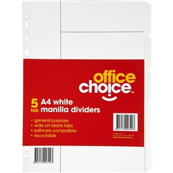 OFFICE CHOICE A4 DIVIDERS (D) 5 tab Manilla White